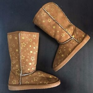Airwalk EMMA Gold Star Cognac Girls Cozy Boots Sz2
